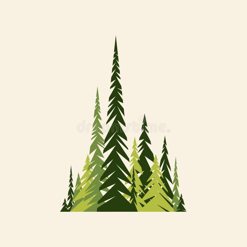 云杉的深绿色和灰棕色颜色 平面 向量例证