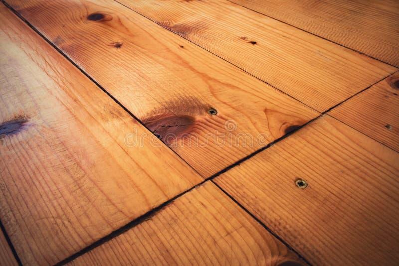 云杉的老木地板细节  免版税库存照片