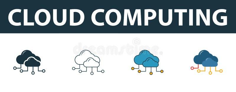 云计算图标集 Four simple symbols in diferent styles from web development icons collection 创意云计算 库存例证