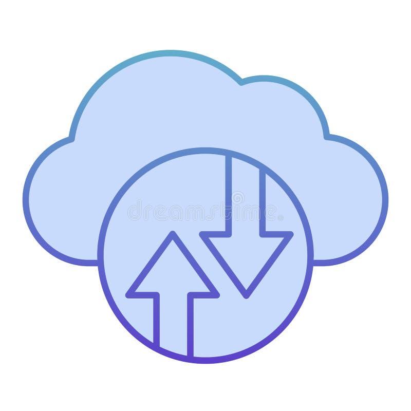 云计算平面图标 云托管蓝色图标,采用时尚平面风格 数据云概念梯度样式设计 向量例证