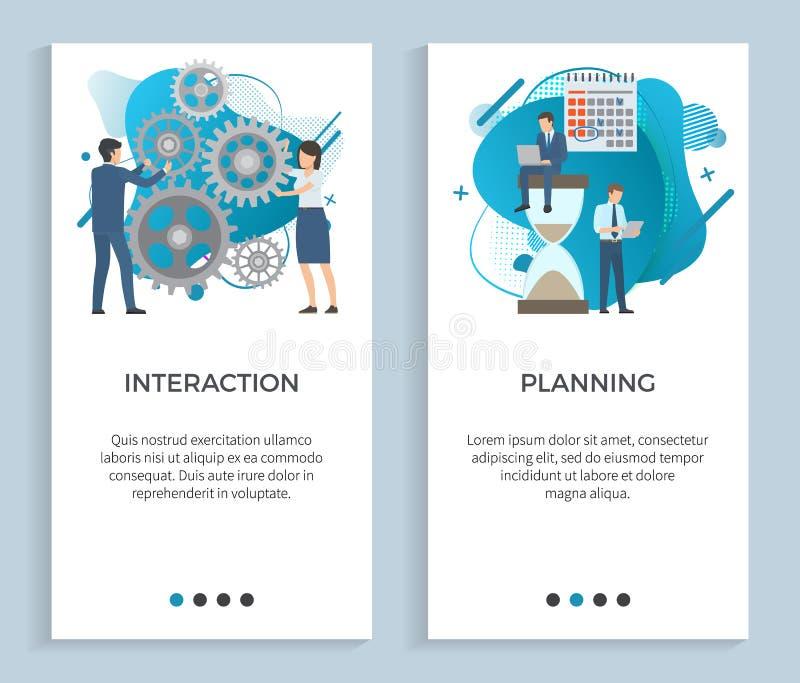 互作用和计划,企业项目集合 向量例证