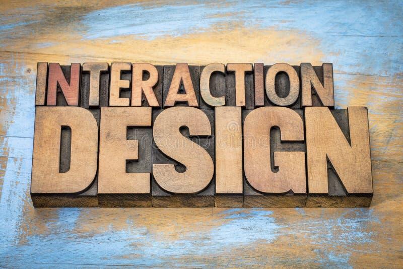 互作用设计在木类型的词摘要 库存图片