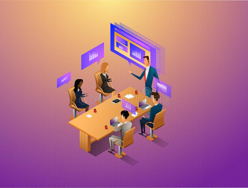 互动与图表和纸的人们,当开数字会议时 工作流和业务管理 3d?? 皇族释放例证