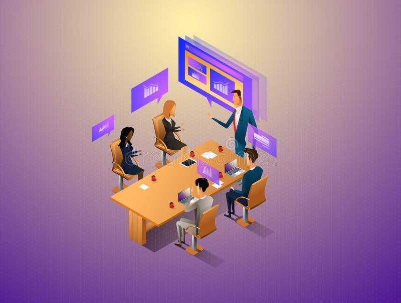 互动与图表和纸的人们,当开数字式会议时 工作流和业务管理 3d向量 向量例证