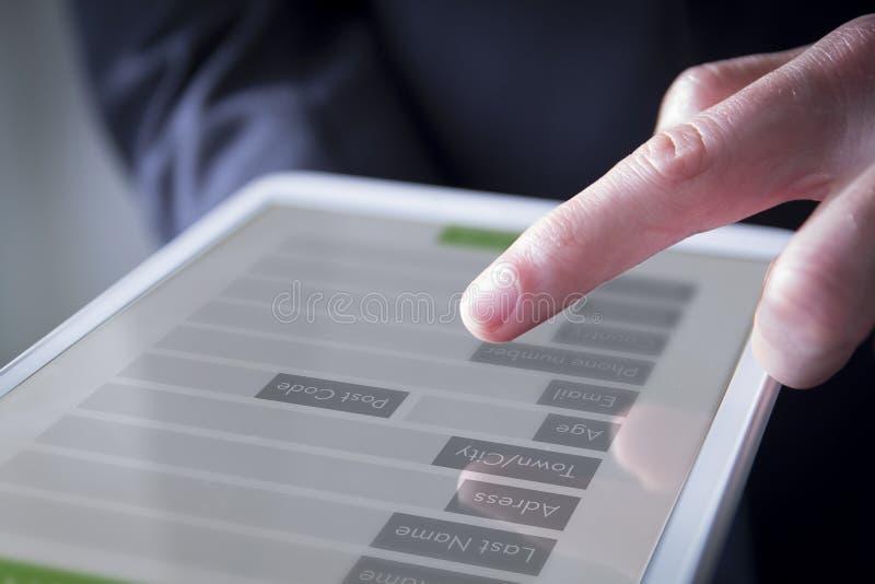 互动与数字式形式的手 免版税库存图片