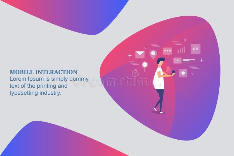 互动与智能手机,流动美满浏览,手机用户订婚概念的人 平的设计传染媒介横幅 向量例证