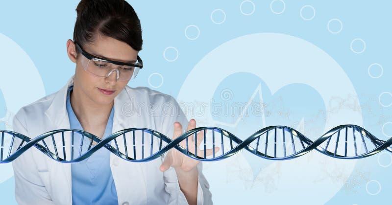 互动与3D脱氧核糖核酸子线的医生妇女 免版税库存照片