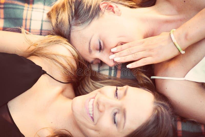 互相告诉双的姐妹秘密 库存图片