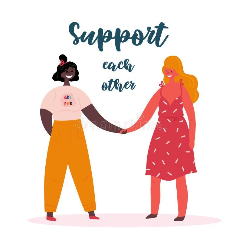 互相支持,两名女孩力量妇女男女平等主义者 库存例证