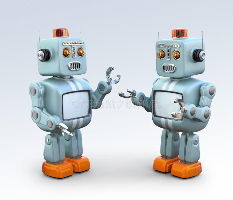 互相谈话两个减速火箭的机器人 向量例证