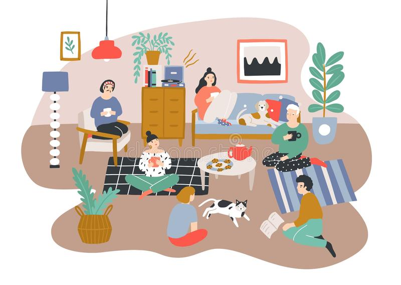 互相谈话小组的男人和的妇女坐在Scandic样式装备的屋子里和 花费时间的朋友 向量例证