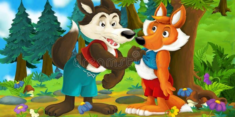 互相谈话的狼和的狐狸的动画片场面-狼威胁对狐狸 库存例证