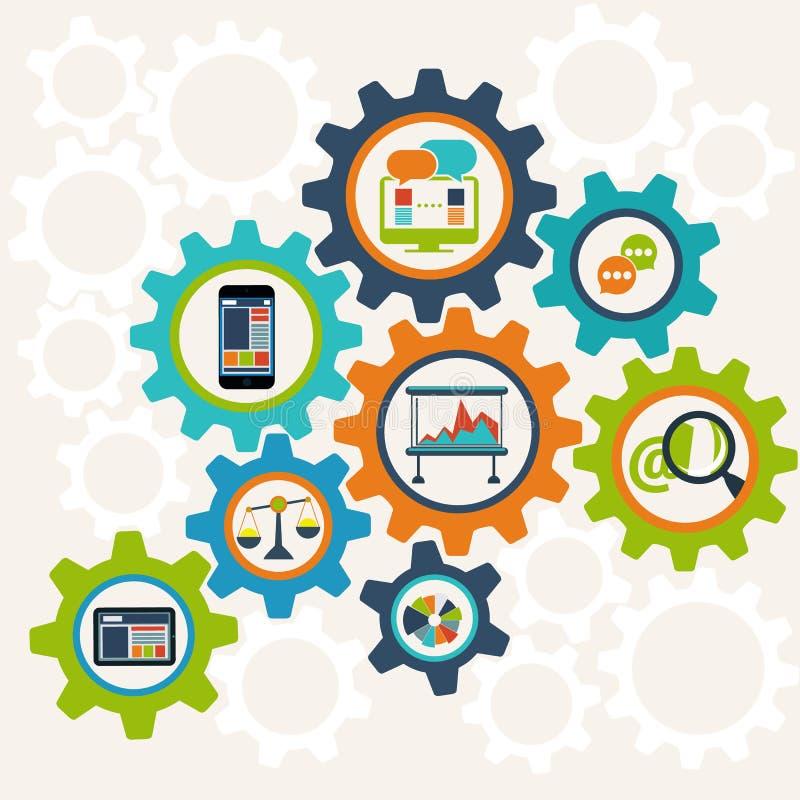 互联商业运作的概念 向量例证