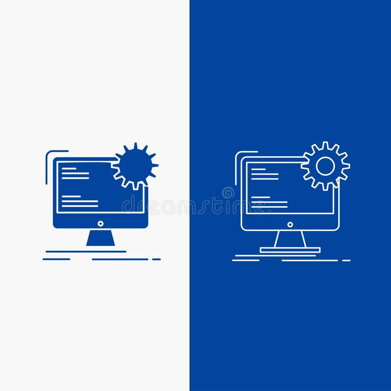 互联网、布局、页、在蓝色垂直的横幅的站点,强制开伞拉绳和纵的沟纹网按钮UI的和UX,网站或者机动性 向量例证