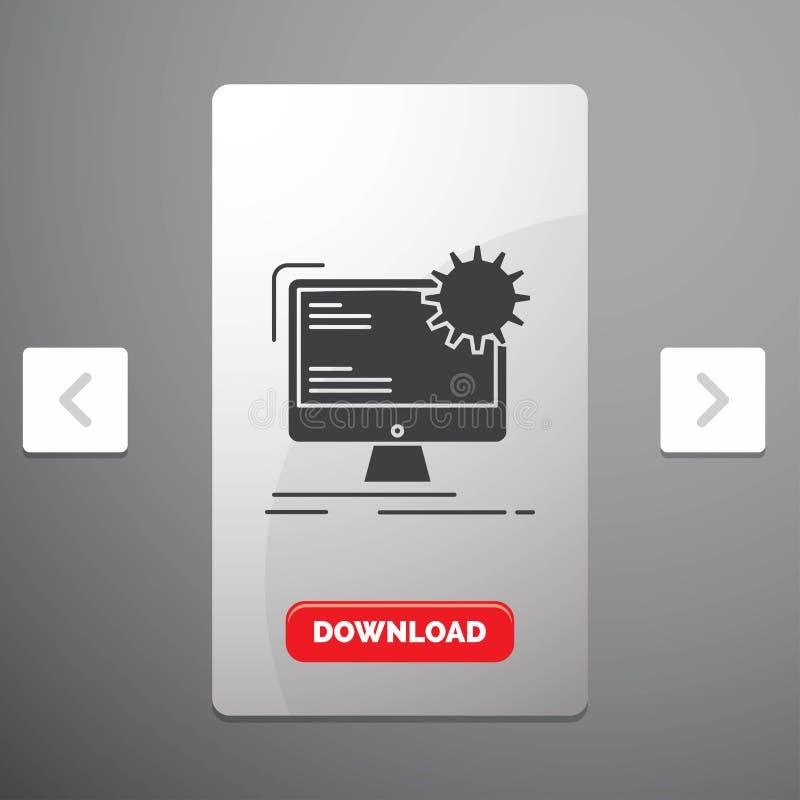 互联网、布局、页、站点、静态纵的沟纹象在喧闹的酒宴页码滑子设计&红色下载按钮 库存例证
