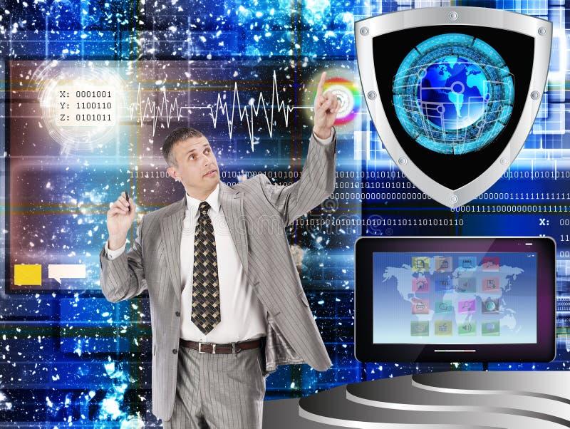 互联网。连接。Cybersecurity 免版税库存图片