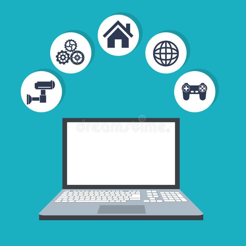 互联网事膝上型计算机网数字式无线系统技术图象 皇族释放例证