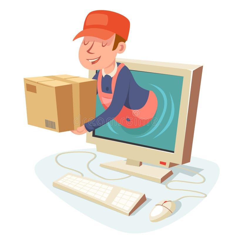 互联网交付概念箱子个人计算机计算机显示器漫画人物设计传染媒介例证 向量例证