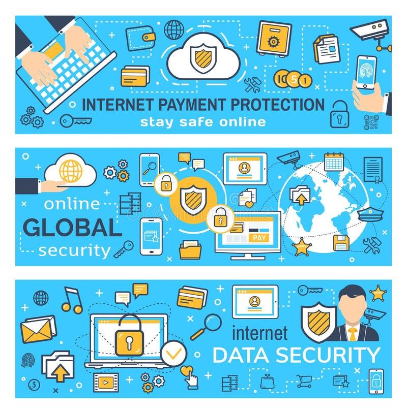 互联网付款保护传染媒介横幅  皇族释放例证