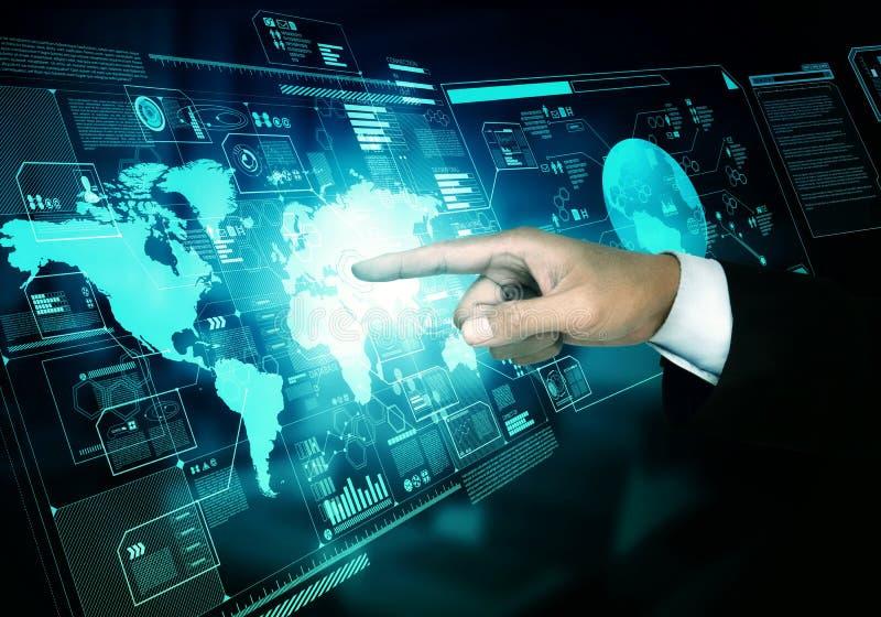 互联网全世界企业信息屏幕 免版税库存照片
