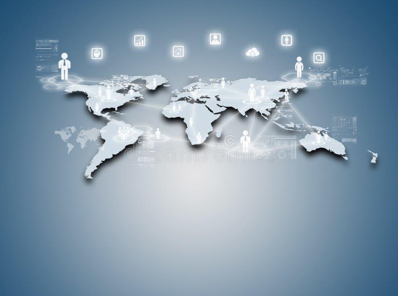 互联网全球企业或社会网络的技术概念 库存例证