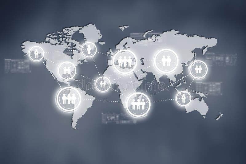 互联网全球企业或社会网络的技术概念 免版税图库摄影