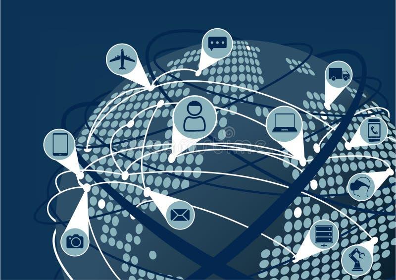 互联网全球网络事(IoT)如同说明 与地球和被加点的地图和线连接的地球 库存例证