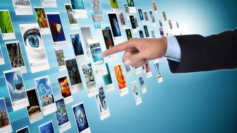 互联网分享概念的摄影画廊和图象 免版税库存图片
