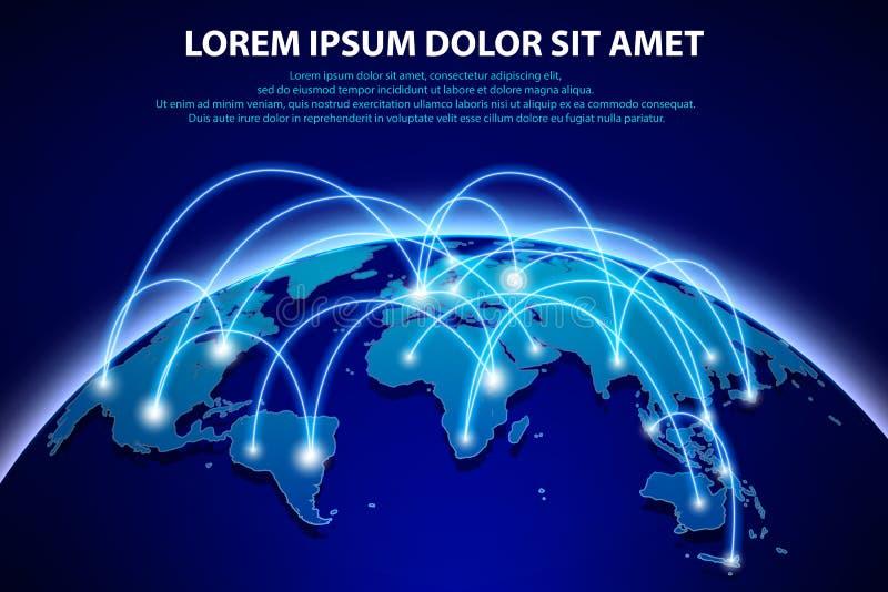 互联网和全球性连接背景 与行星的抽象网络横幅概念 抽象蓝色世界地球 向量例证