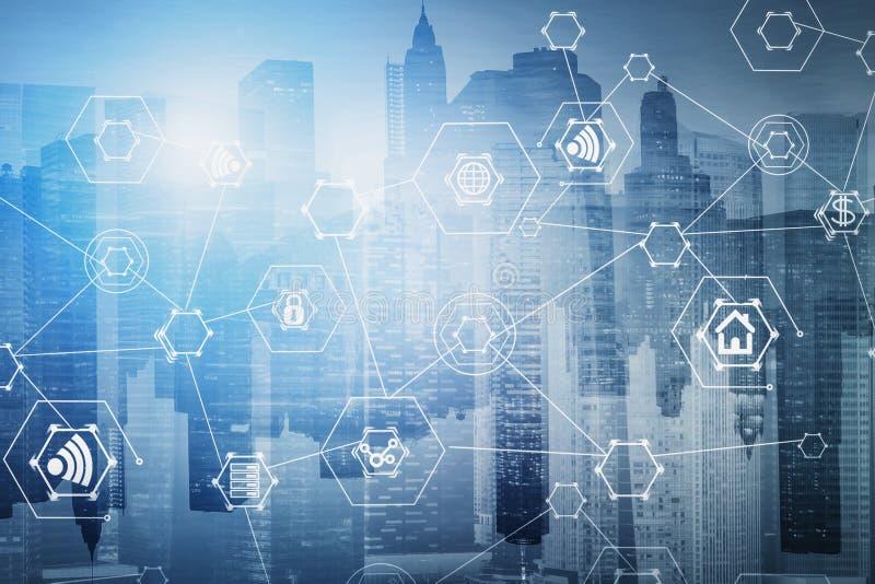 互联网和通信象在灰色城市 库存例证