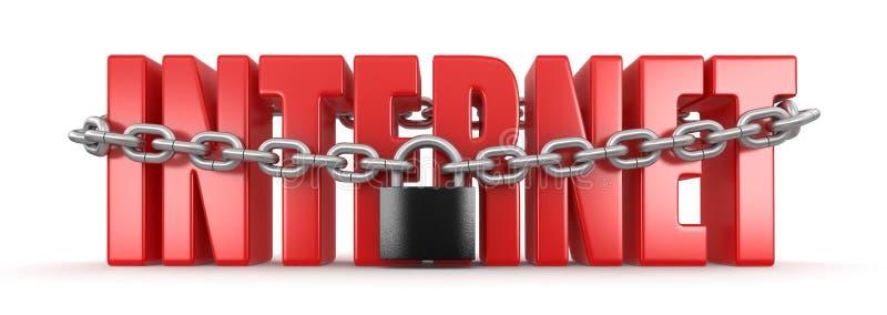 互联网和锁(包括的裁减路线) 向量例证