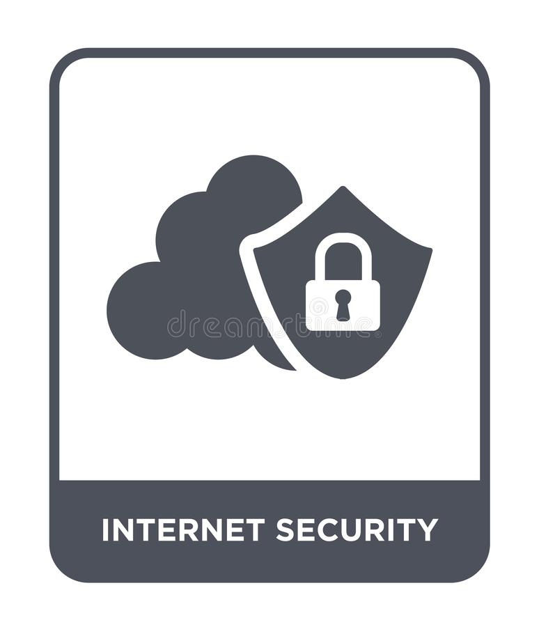 互联网在时髦设计样式的安全象 互联网在白色背景隔绝的安全象 互联网安全传染媒介象 库存例证