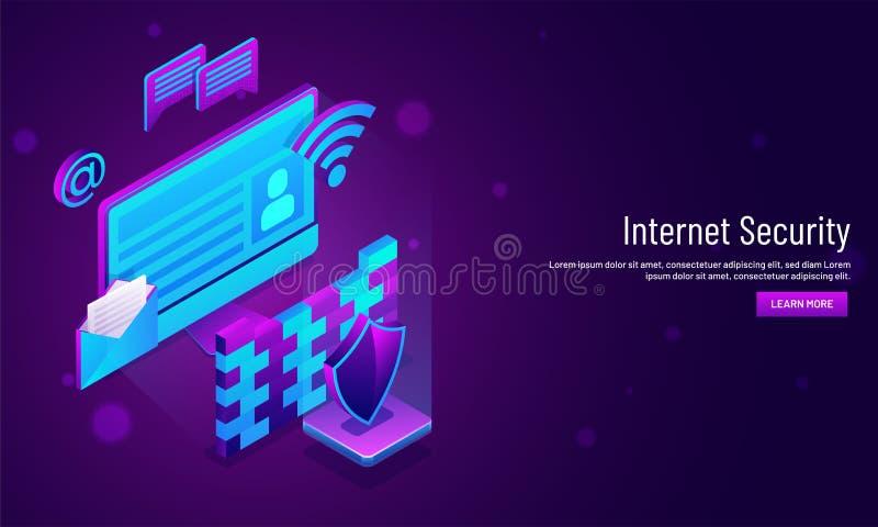 互联网基于的安全概念,邮件的等量例证 皇族释放例证