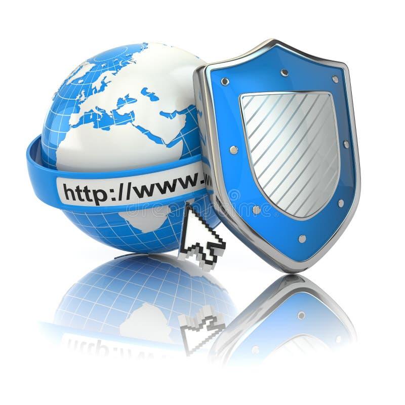 互联网安全。地球、浏览器地址线和盾。 皇族释放例证
