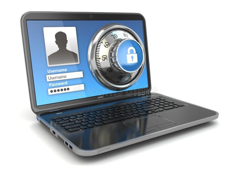 互联网安全。膝上型计算机和安全锁。 向量例证