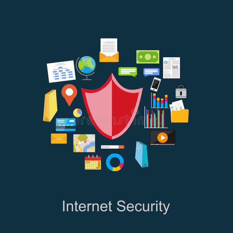 互联网安全例证 数据保护例证 向量例证