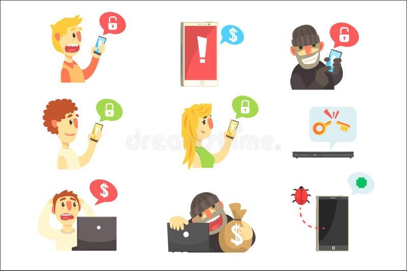 互联网安全和计算机防护窃取密码和信息的金钱系列犯罪黑客 向量例证
