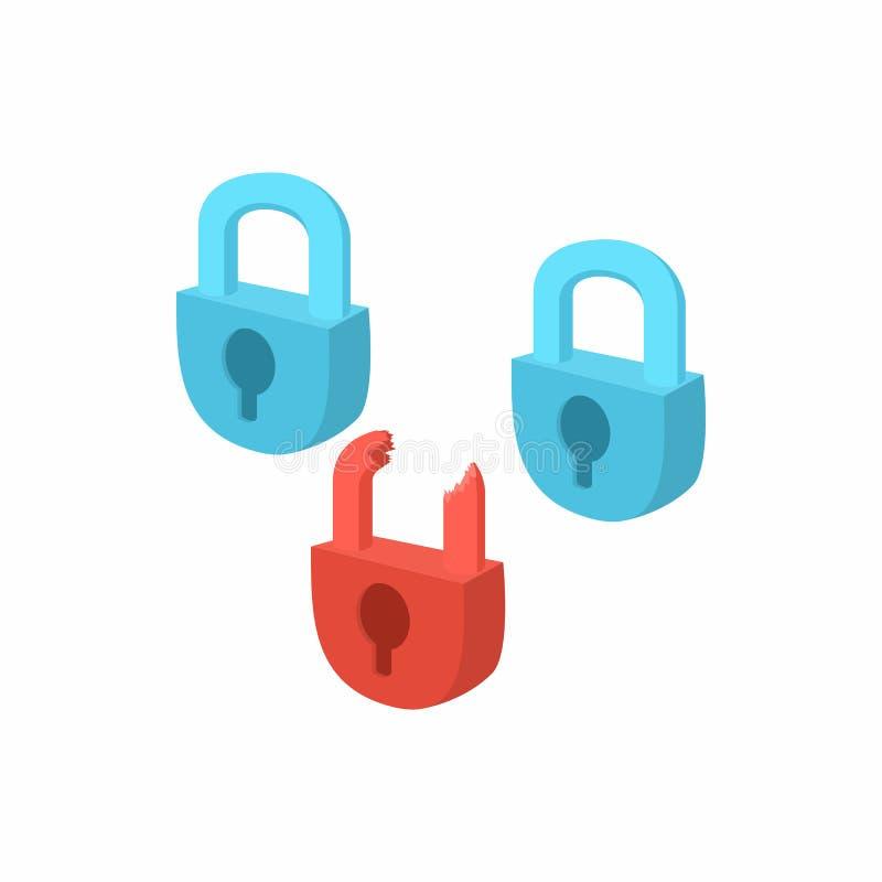 互联网安全的标志与挂锁象的 库存例证