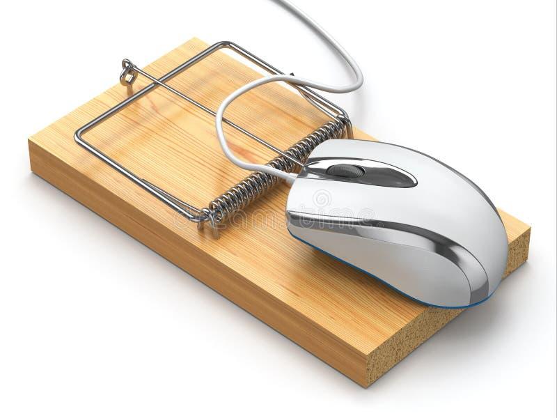 互联网安全的概念。计算机老鼠和捕鼠器。 向量例证