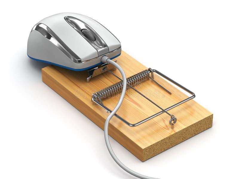 互联网安全的概念。计算机老鼠和捕鼠器 皇族释放例证