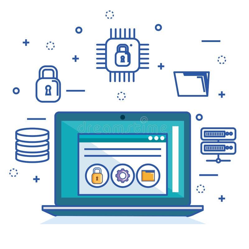 互联网安全膝上型计算机服务器和存贮安全信息技术 库存例证