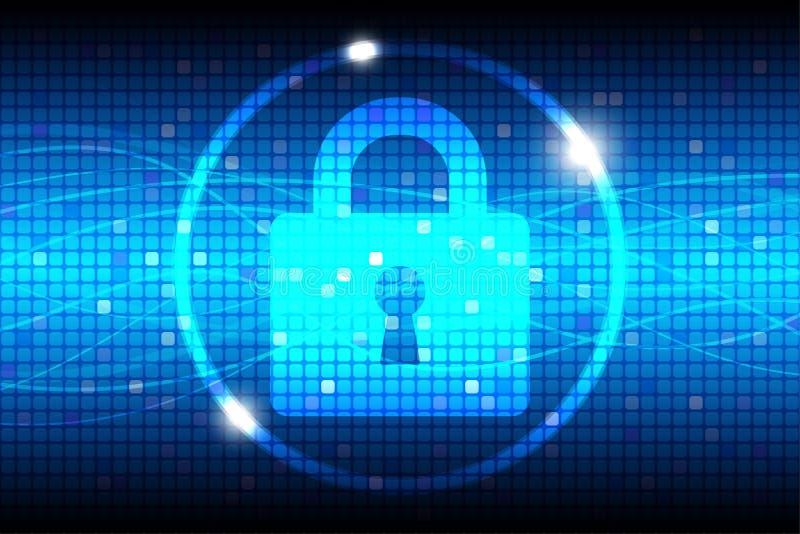 互联网安全蓝色抽象背景 皇族释放例证