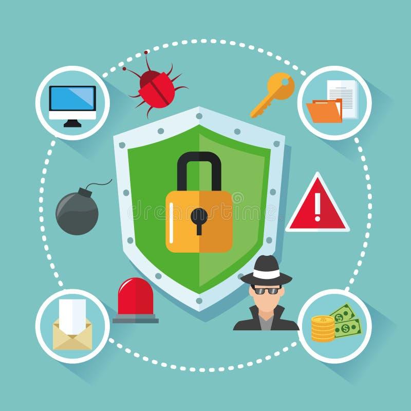 Download 互联网安全设计 系统象 五颜六色的例证,传染媒介 向量例证. 插画 包括有 挂锁, 传染, 威胁, 符号 - 72371766