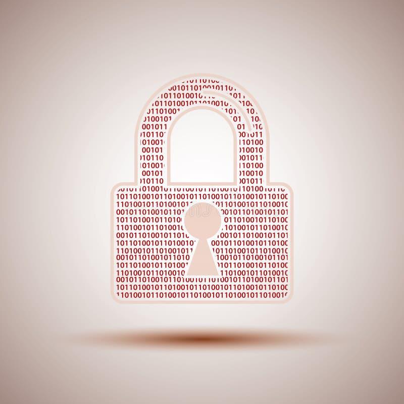 互联网安全象锁和二进制编码 库存例证