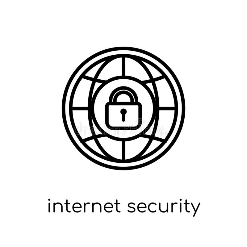 互联网安全象 时髦现代平的线性传染媒介实习生 向量例证