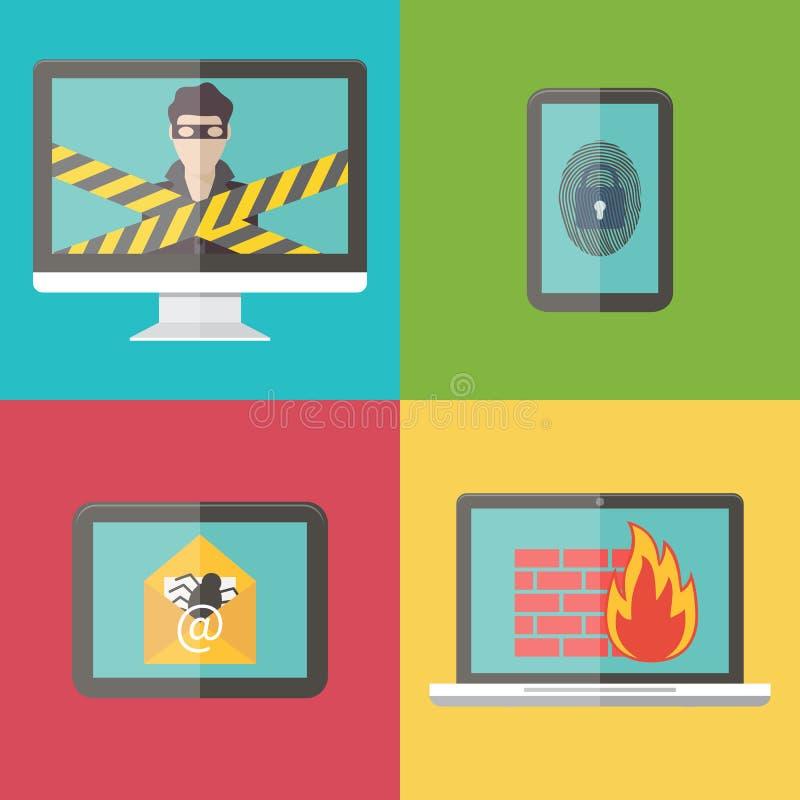 互联网安全,黑客,病毒保护和 向量例证