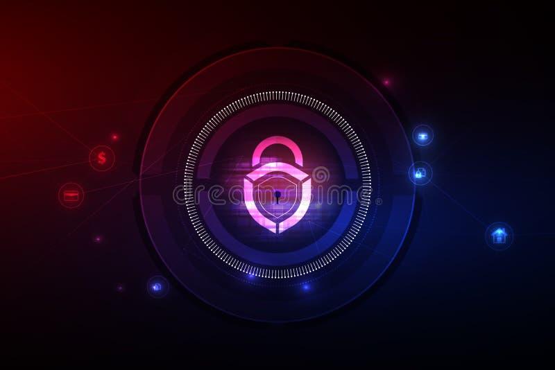 互联网技术网络和网络安全概念 在安全数据网技术的锁象,传染媒介iluustration 库存例证
