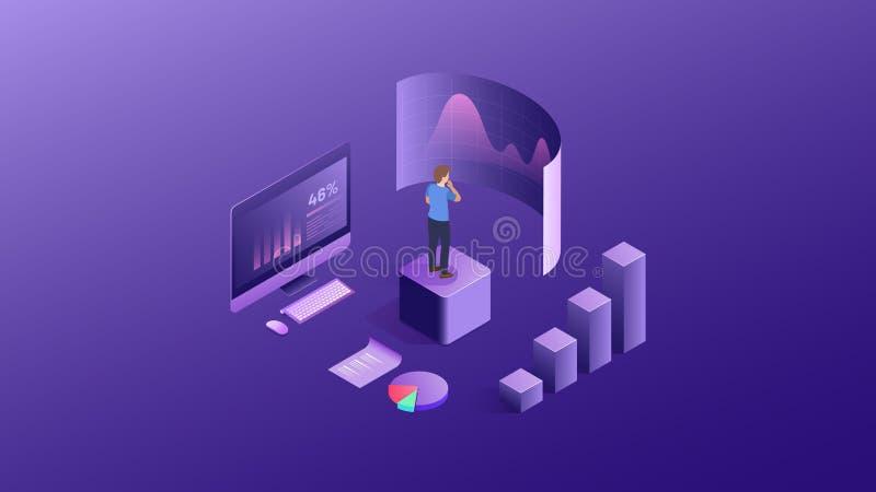 互联网投资的成功元素 财政网分析和战略标志 E ?? 库存例证