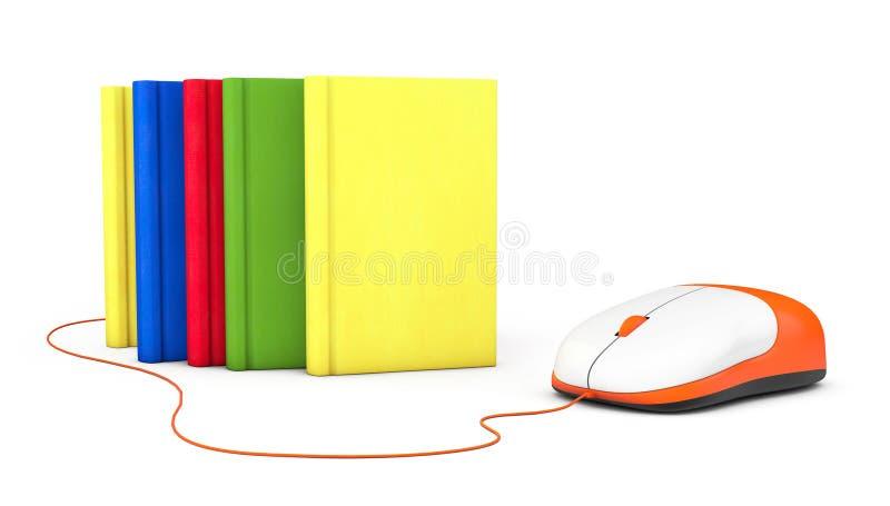 互联网教育。书和计算机老鼠 库存图片
