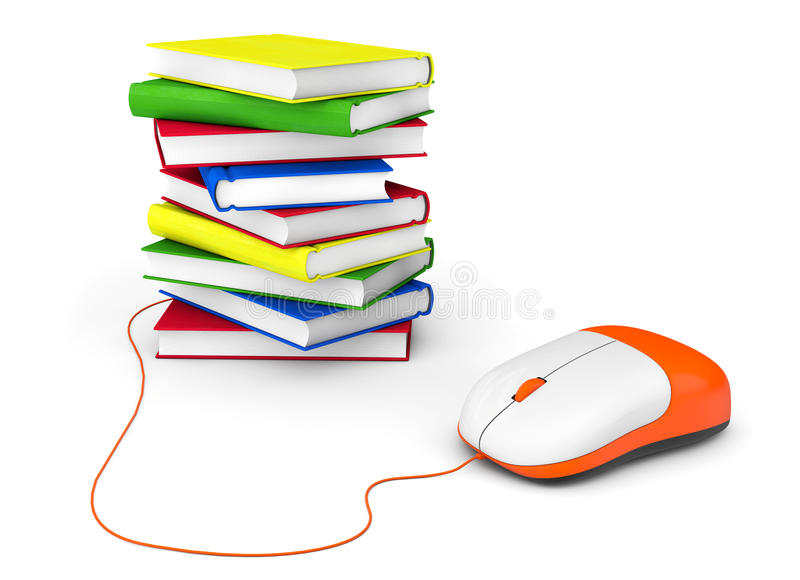 互联网教育。书和计算机老鼠 免版税库存照片
